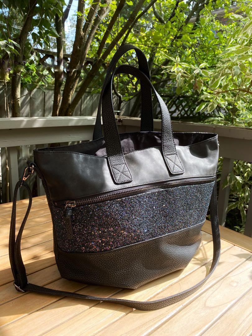 STUNNING black& sparkly navy blue bag from Strasbourg,France
