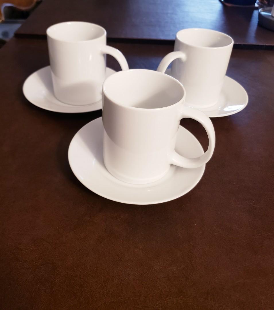 3 White Mug Sets