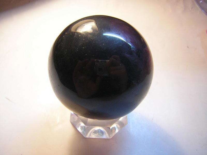 黑曜石水晶球~黑曜球49mm附座~出清件