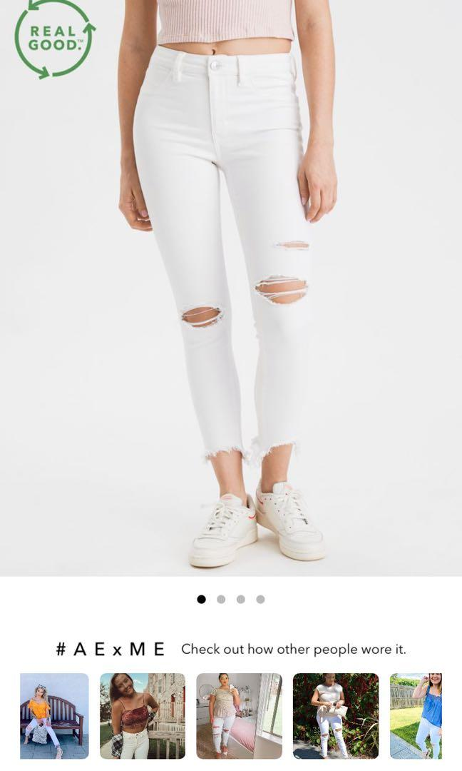 AE white ripped jegging size 8