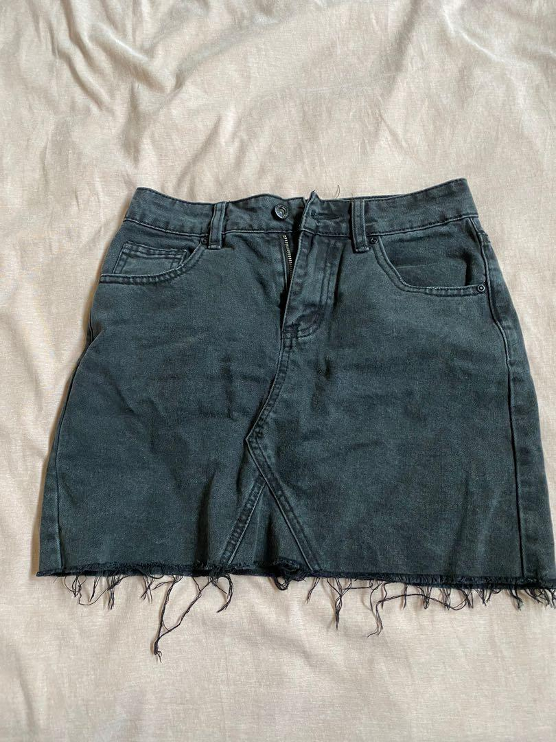 Black denim skirt ripped