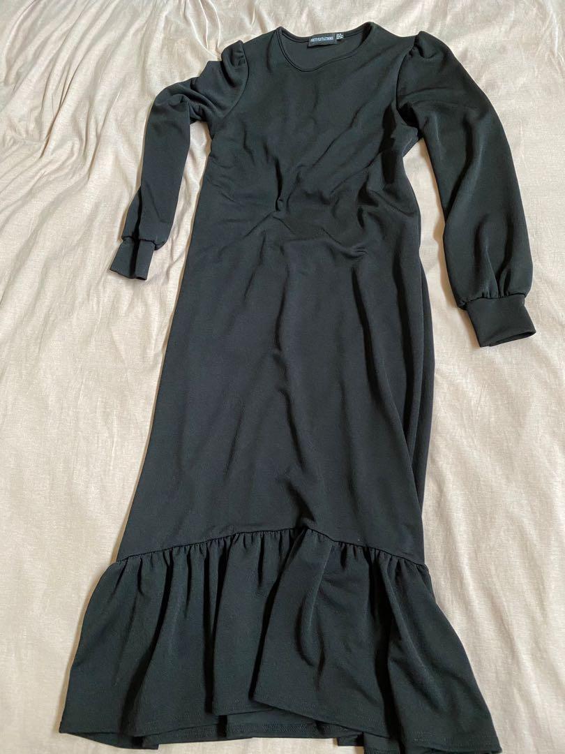 Black flare midi maxi dress