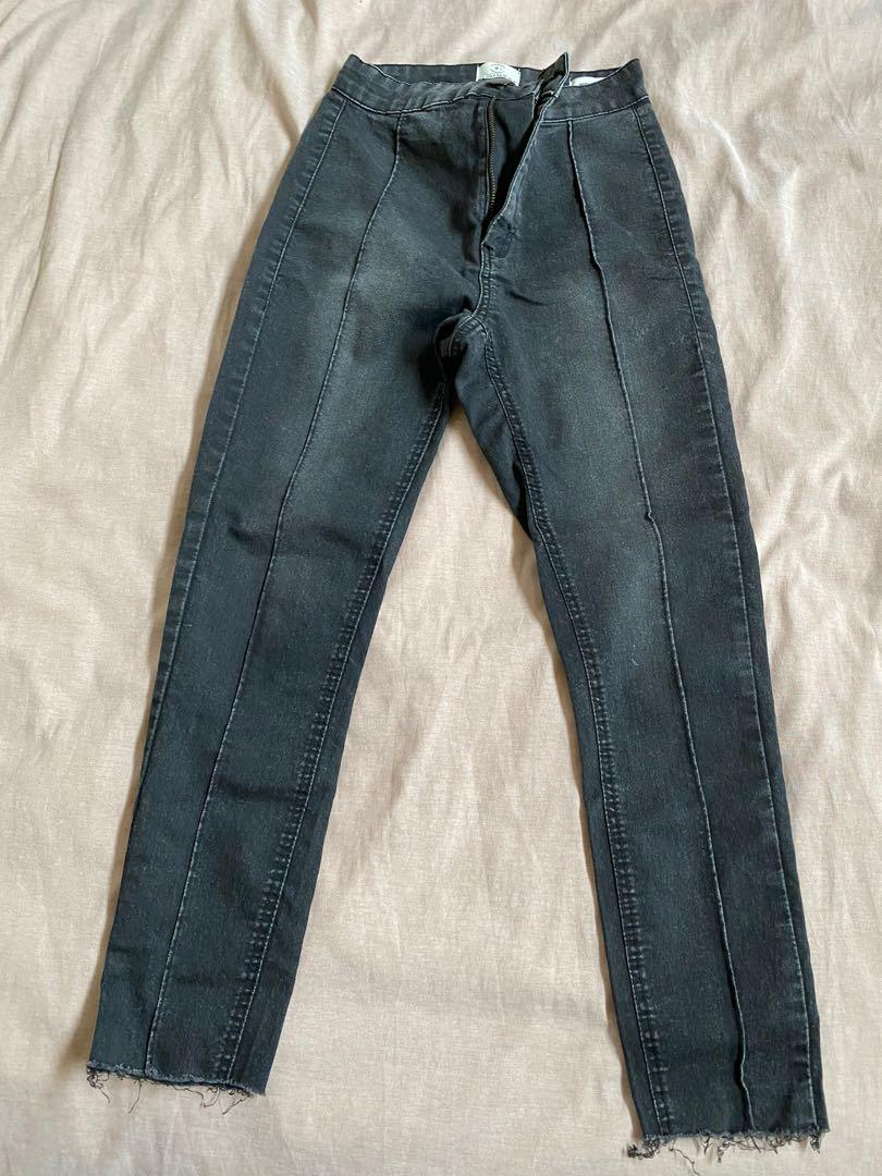 Black piped jegging jeans