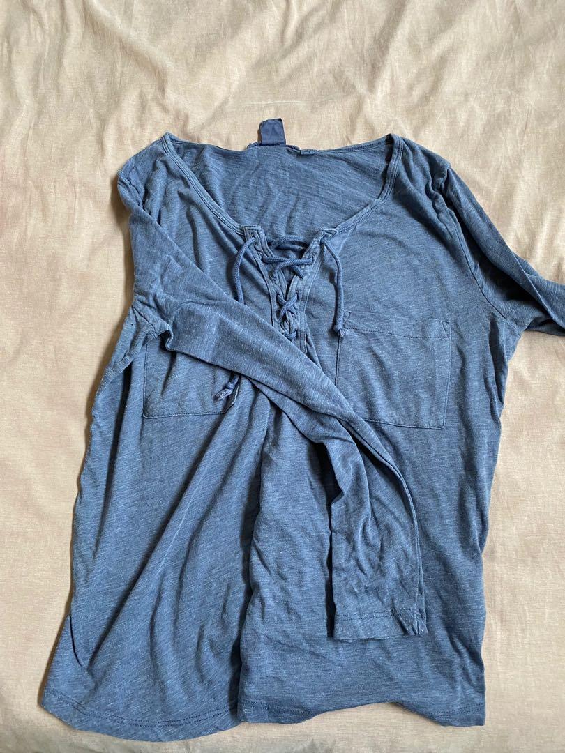 Blue long sleeve tshirt tie top