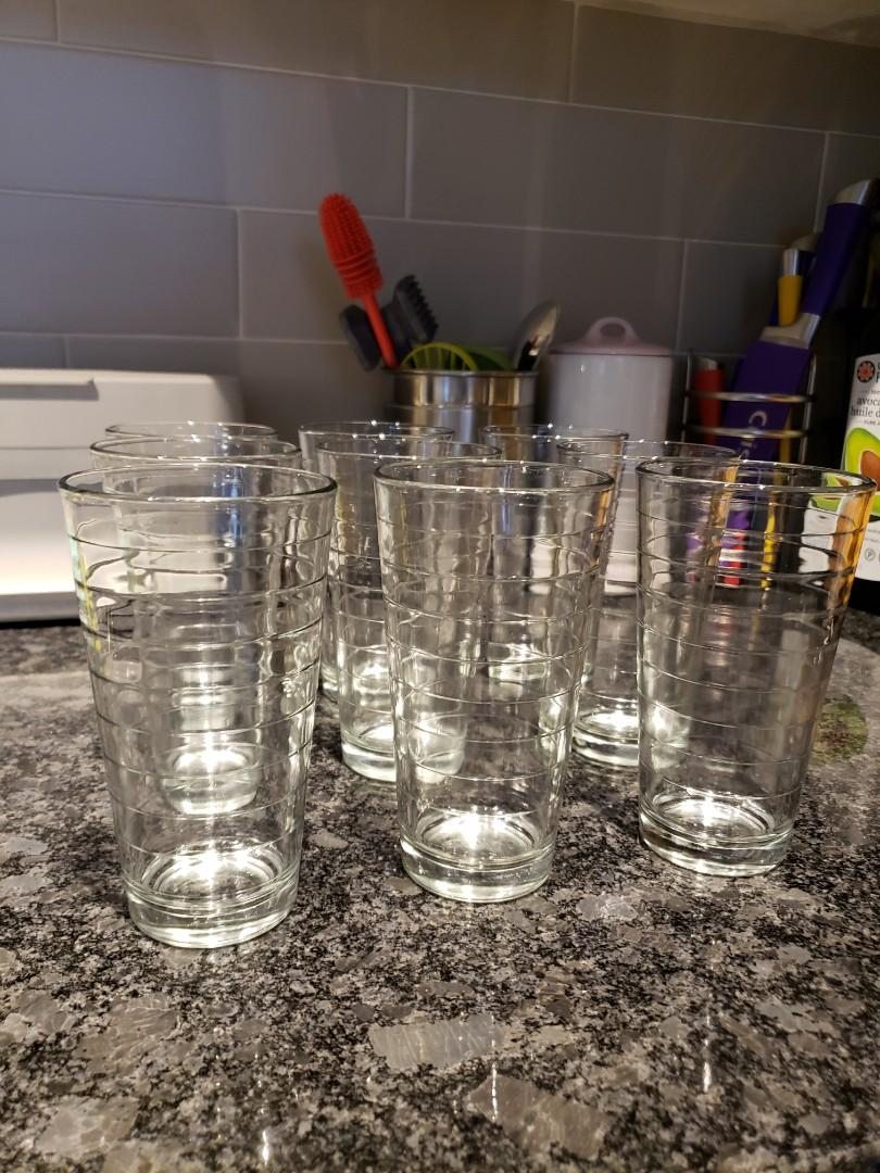 Crate & Barrel - Set of 10 Tall Glass Cups