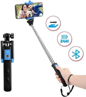 Mini Extendable 3 in 1 Aluminum Selfie Stick with Wireless Remote and Tripod Stand 360/° Rotation for iPhone 11//11 Pro//XS Max//XS//XR//X//8//7 ATUMTEK Bluetooth Selfie Stick Tripod Samsung and Smartphone