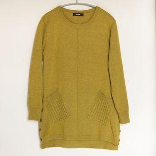 HONOR 山形屋 芥綠色 長袖 細針織 洋裝 長版 針織衫 #保暖