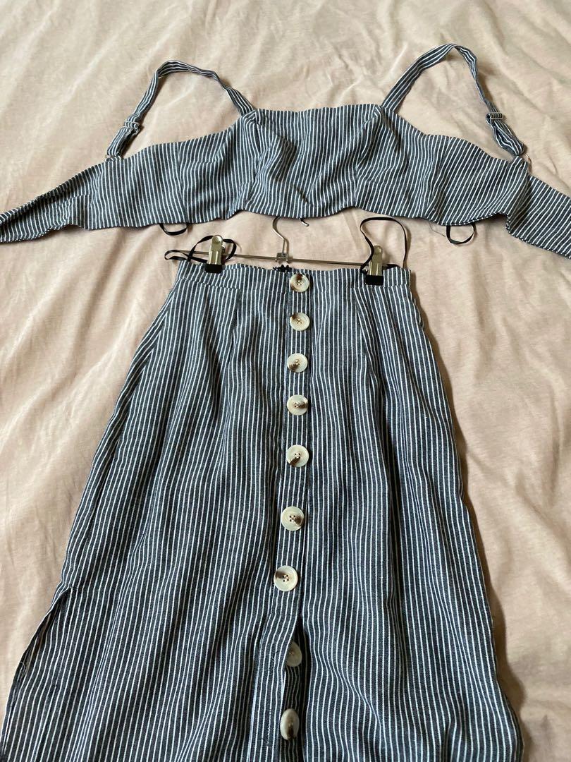 Matching stripe co ord set midi skirt