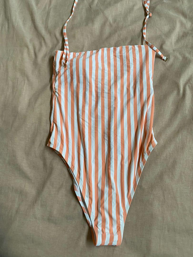 One piece striped swimsuit togs