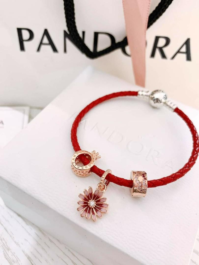 Pandora Leather Bracelet And Rose Gold Charms Sale Luxury Accessories On Carousell