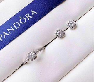 Pandora Sparkling round ring and stud earrings