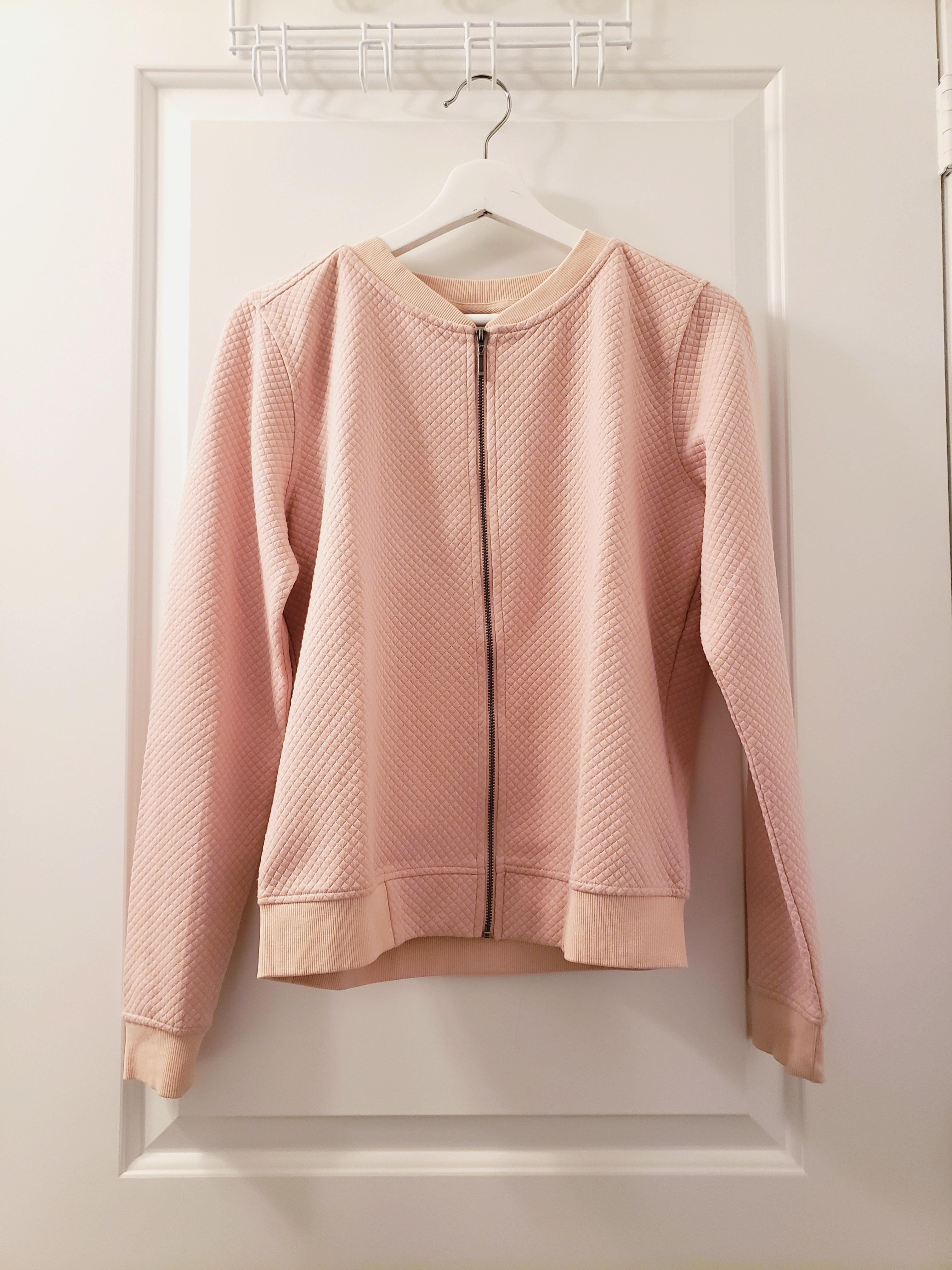 Pink Bomber Zip Up Sweater - Size S