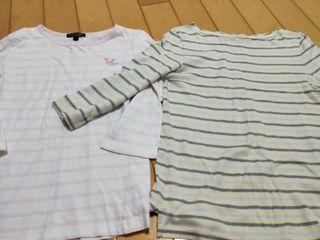 兩件純棉條紋七分袖T恤lativ