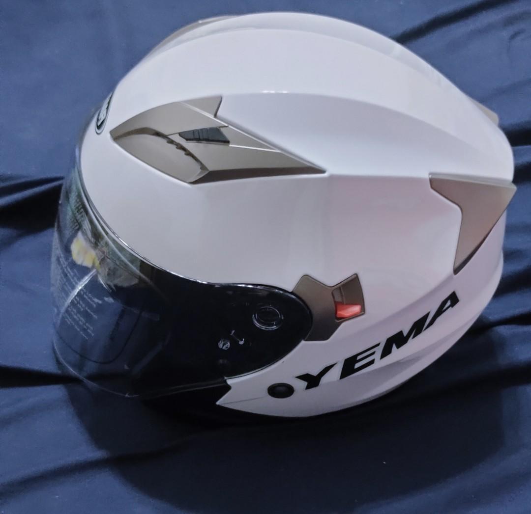 YEMA 雙鏡片安全帽 白色