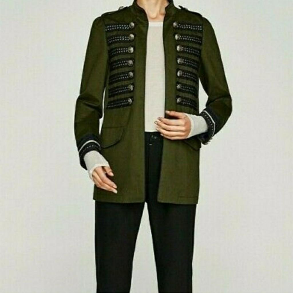 Zara Military Green Gold Button jacket