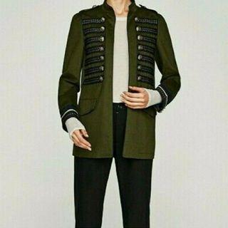 XS Zara Military Green Gold Button jacket