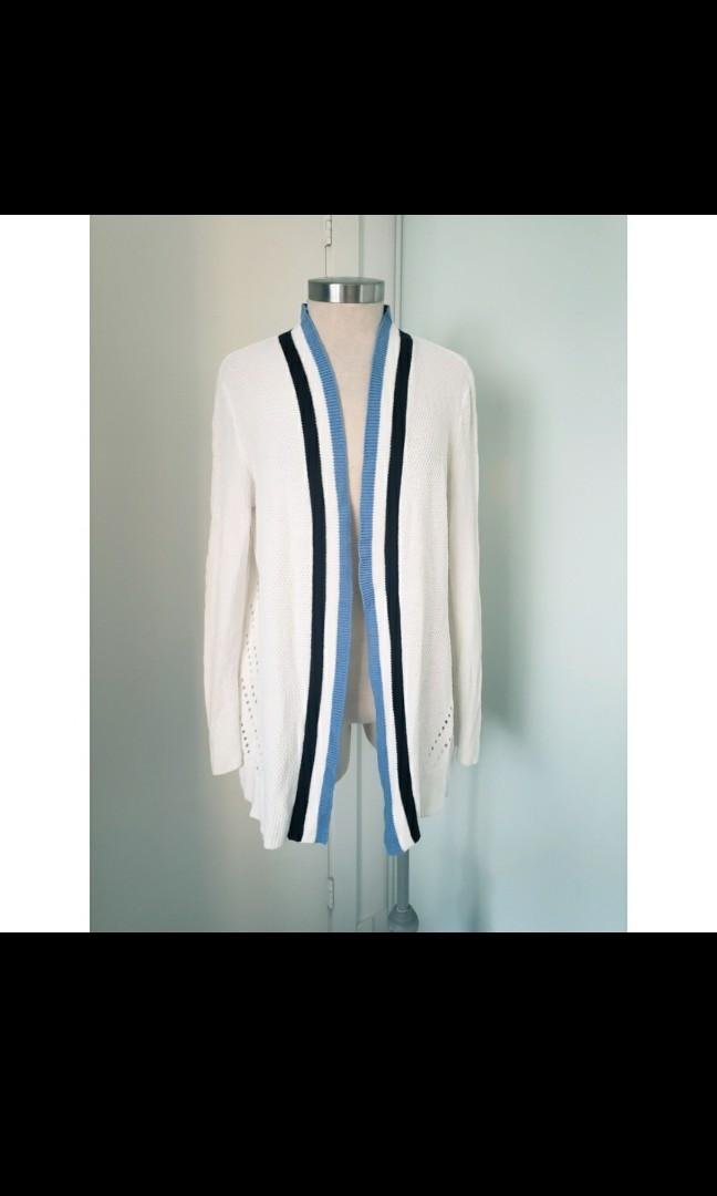 89th and Madison White Knit Cardigan