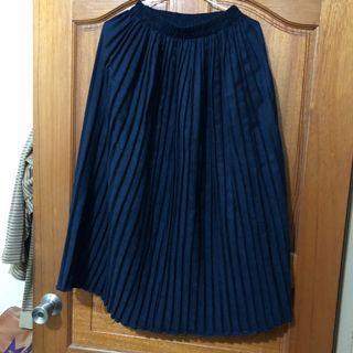 藏青藍百褶裙
