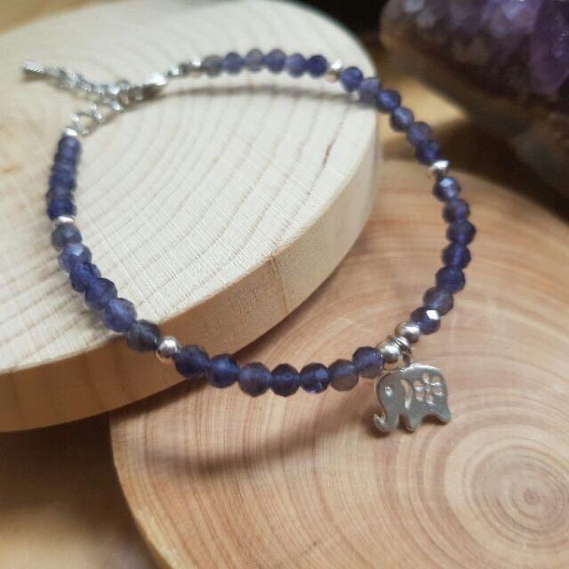 🌸祖祖水晶飾品🌸鑽切堇青石開運小象手鍊 菫青石手珠手鍊 可調手圍