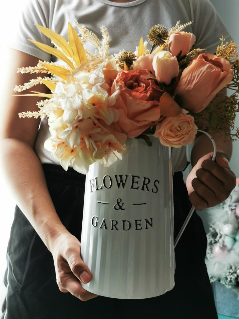 Big Artificial Flower Bouquet In Metal Water Can Gardening Flowers Bouquets On Carousell
