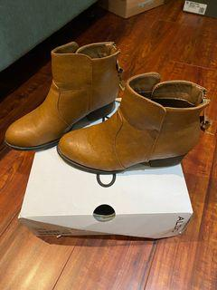 Brown leather booties