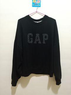 GAP 黑色棉質T恤 圓領寬袖上衣 #保暖