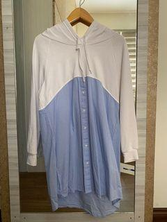 Hoodie blue and white dress
