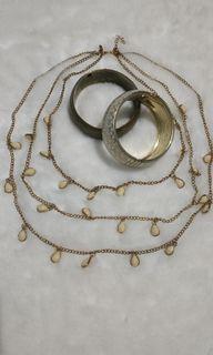 Necklace pearl, gold bracelet, gelang bangles