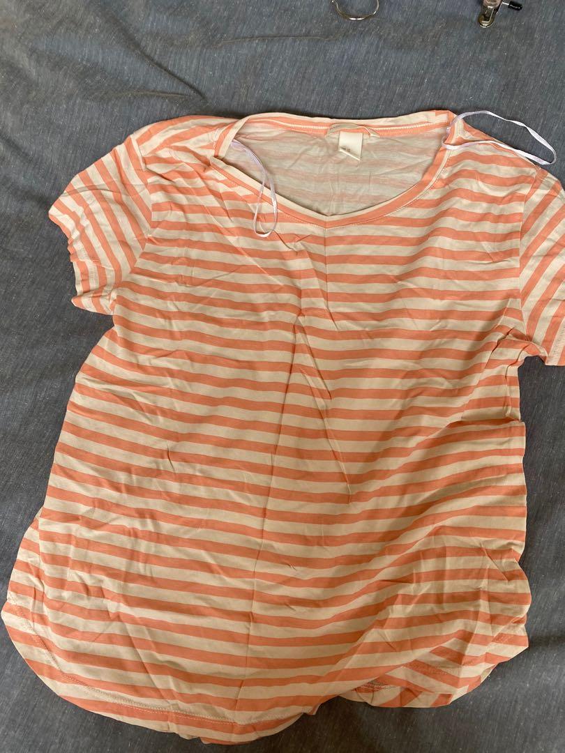 Orange and white stripe top