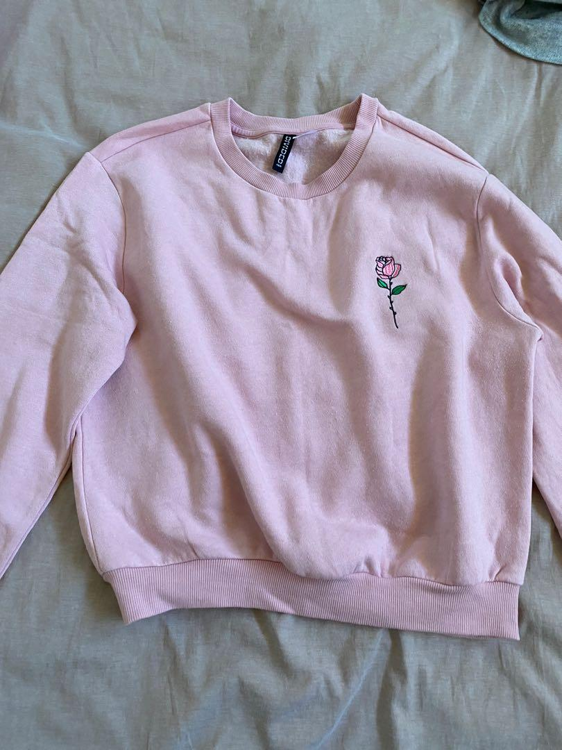 Pink rose embroidery jumper