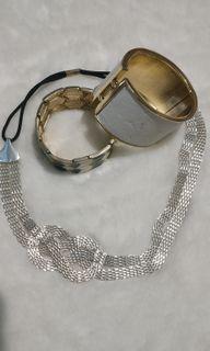 Silver necklace, gold bangles, gelang bangles