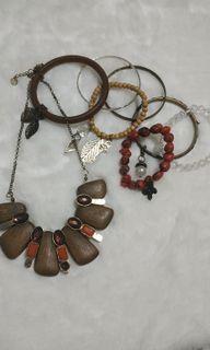 Wood bracelet, wood necklace bundle, gelang kalung kayu