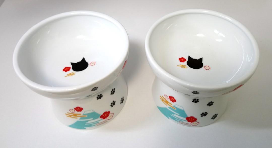 """日本""""貓宅""""大號高腳碗-食碗(一對,2只)"""