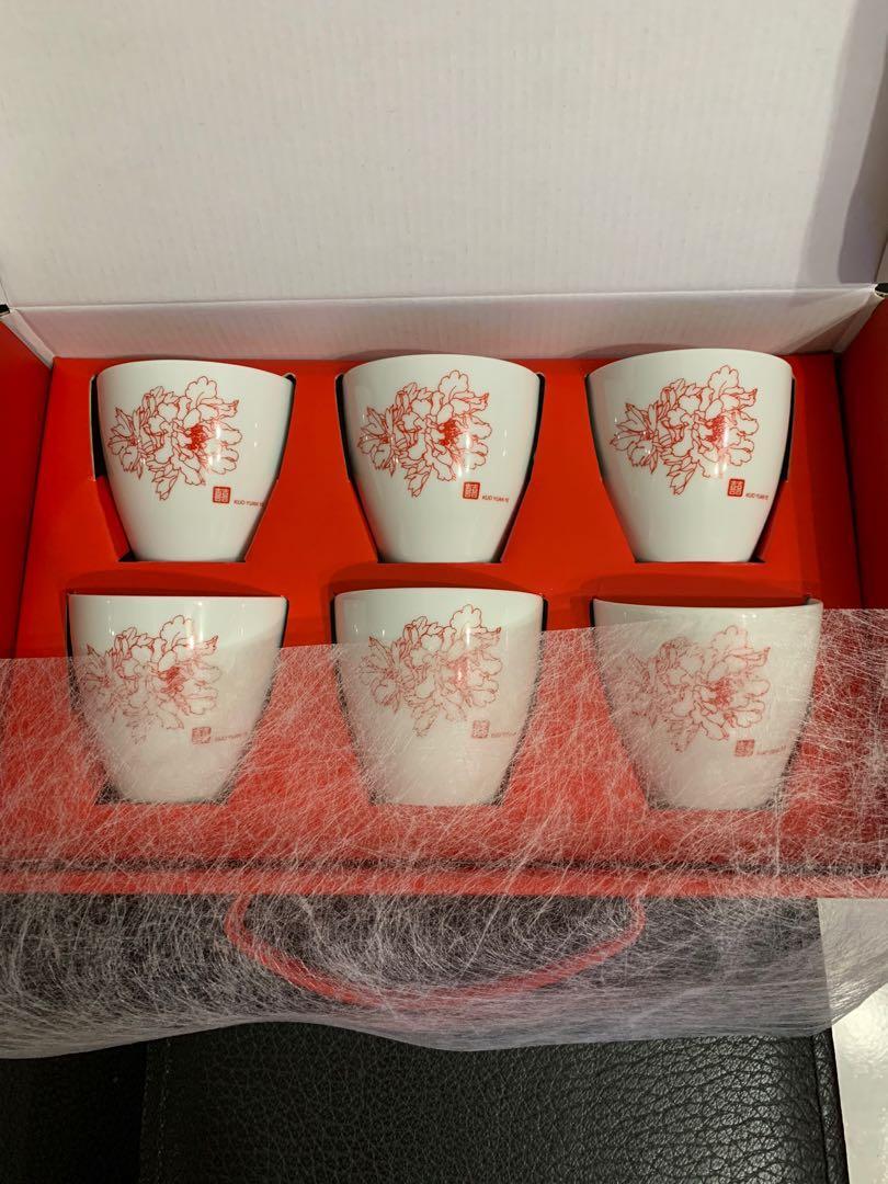 喜事 喝茶儀式專用陶瓷杯 一組6杯