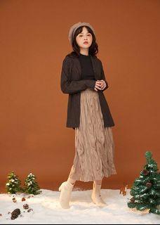 摩卡咖 麂皮 皺皺裙 #保暖