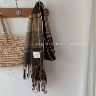 現貨♡復古英倫風格紋流蘇仿羊絨圍巾(B216)
