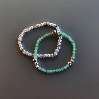 Beaded stretch bracelets Tiffany inspired