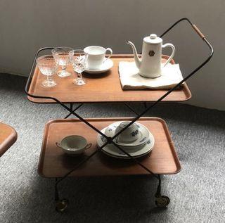 瑞典 中古 / 1960年代 Gantofta 柚木 推車 餐車 茶几 酒車 vintage 北歐 not homeless Muji