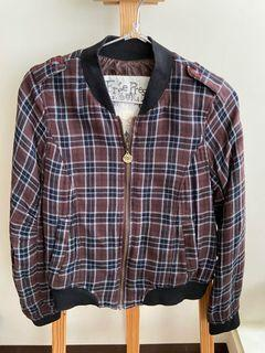 最後出清1/31下架!品牌二手秋冬季服飾 咖色格紋 棒球外套 百元有找出清