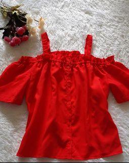 Blouse merah sabrina