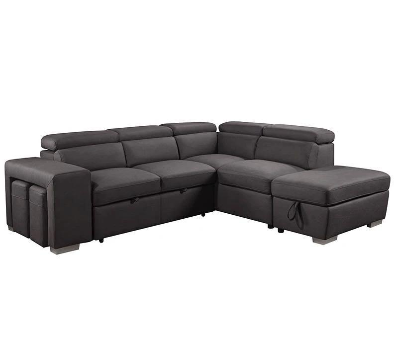 Brand New Sectional Sleeper Sofa with Storage ottoman and 2 stools