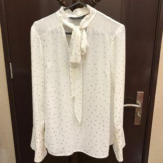 Dorothy Perkins - Silver Polka White Shirt with Bow
