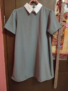 Dress A Line Salur   Dress Korea Abu abu Kerah