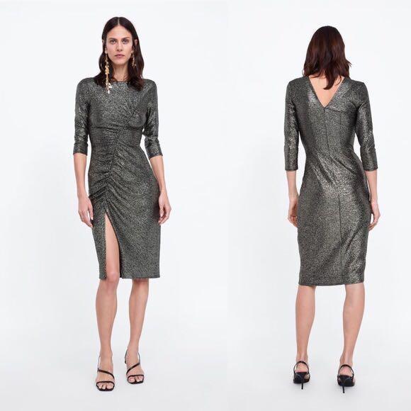 Zara Gold Metallic Dress Zara