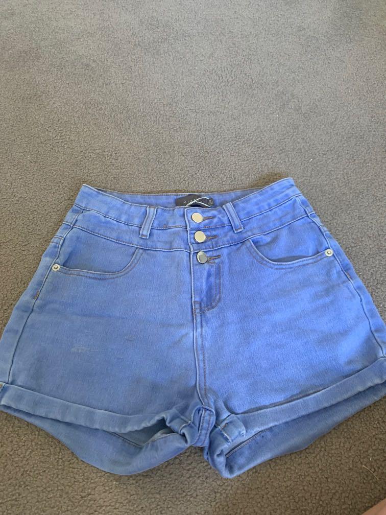 High Rise Denim Shorts Size 8