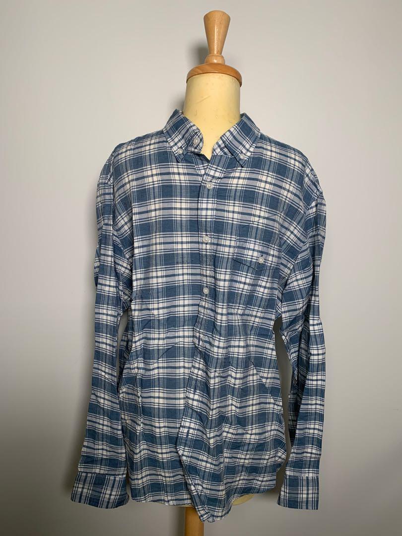 Jcrew - men's blue check button down shirt - size Large