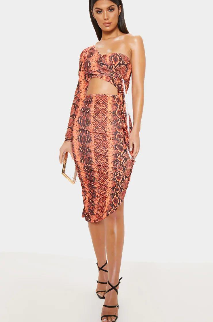 PLT Orange Snakeskin Dress