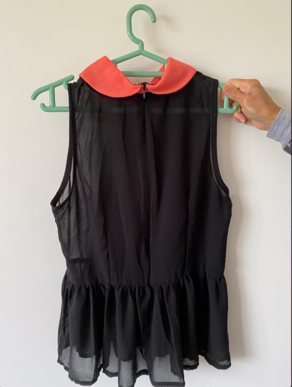 Peter pan collared black top