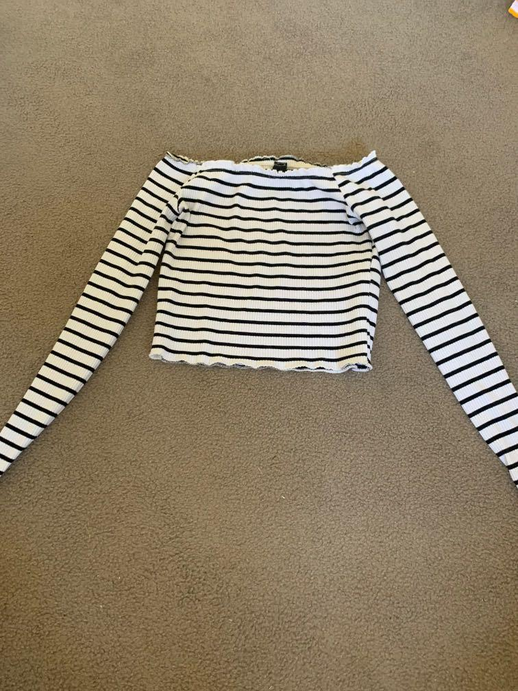 Small Striped Cropped Off Shoulders Top