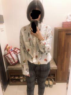 花草英文襯衫